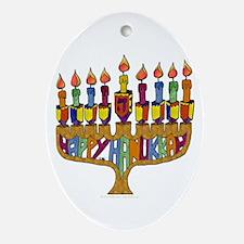 Happy Hanukkah Dreidel Menorah Ornament (Oval)