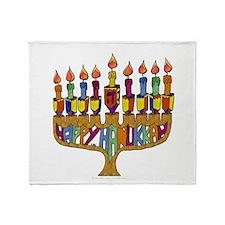 Happy Hanukkah Dreidel Menorah Throw Blanket