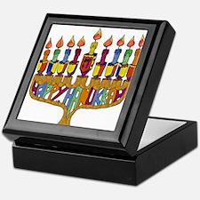 Happy Hanukkah Dreidel Menorah Keepsake Box