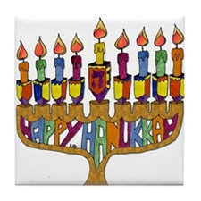 Happy Hanukkah Dreidel Menorah Tile Coaster