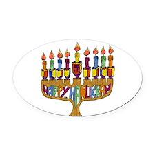 Happy Hanukkah Dreidel Menorah Oval Car Magnet