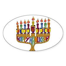 Happy Hanukkah Dreidel Menorah Decal