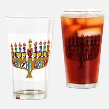 Happy Hanukkah Dreidel Menorah Drinking Glass