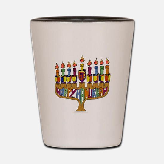 Happy Hanukkah Dreidel Menorah Shot Glass