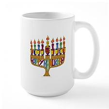 Happy Hanukkah Dreidel Menorah Mug