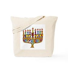Happy Hanukkah Dreidel Menorah Tote Bag