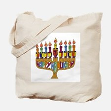 Happy Hanukkah Dreidel Menorah Tote Bag