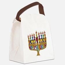 Happy Hanukkah Dreidel Menorah Canvas Lunch Bag