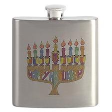Happy Hanukkah Dreidel Menorah Flask