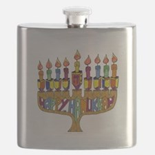 Happy Hanukkah Dreidel Menorah Flask