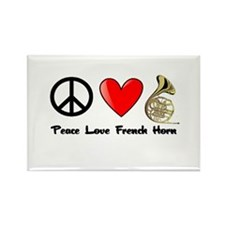 Peace, Love, French Horn Rectangle Magnet