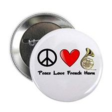 "Peace, Love, French Horn 2.25"" Button"