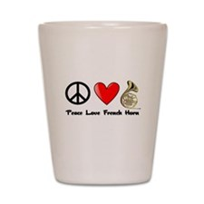 Peace, Love, French Horn Shot Glass