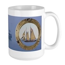 The Schooner Heritage and a fishing trawlMug