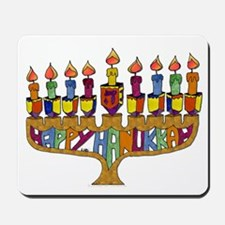 Happy Hanukkah Dreidel Menorah Mousepad