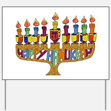 Happy Hanukkah Dreidel Menorah Yard Sign