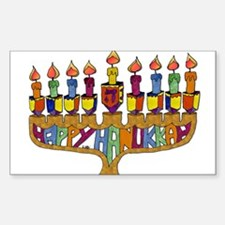 Happy Hanukkah Dreidel Menorah Decal