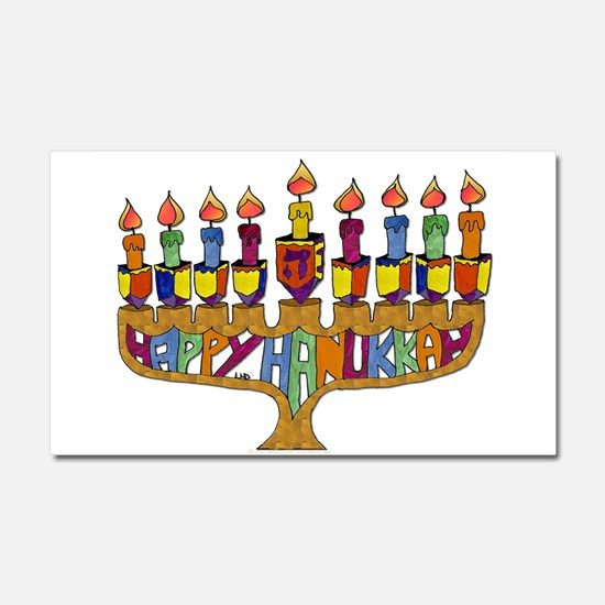 Happy Hanukkah Dreidel Menorah Car Magnet 20 x 12