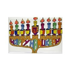 Happy Hanukkah Dreidel Menorah Rectangle Magnet