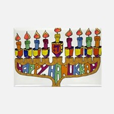 Happy Hanukkah Dreidel Menorah Rectangle Magnet