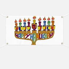 Happy Hanukkah Dreidel Menorah Banner