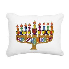 Happy Hanukkah Dreidel Menorah Rectangular Canvas