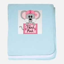 Think Pink Breast Cancer Awareness Mouse baby blan