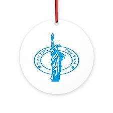 New York Passport Stamp Ornament (Round)