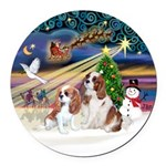 XMagic-2 BL Cavaliers Round Car Magnet