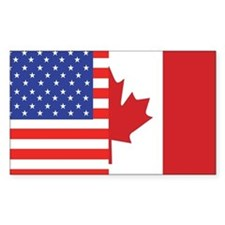 USA/Canada Rectangle Bumper Stickers