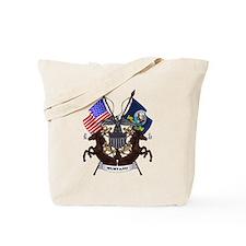 Navy Mustang Emblem Tote Bag