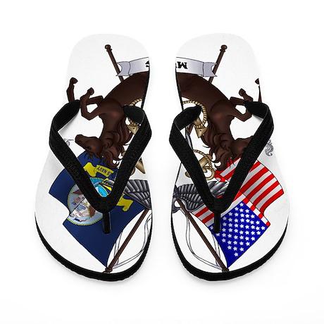 Navy Mustang Emblem Flip Flops By Stuff4navymustang