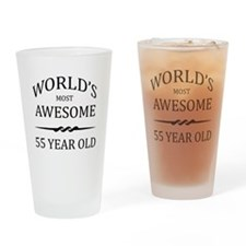 World's Most Awesome 55 Year Old Drinking Glass