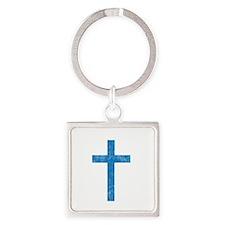 Pretty blue christian cross 1 U A Square Keychain