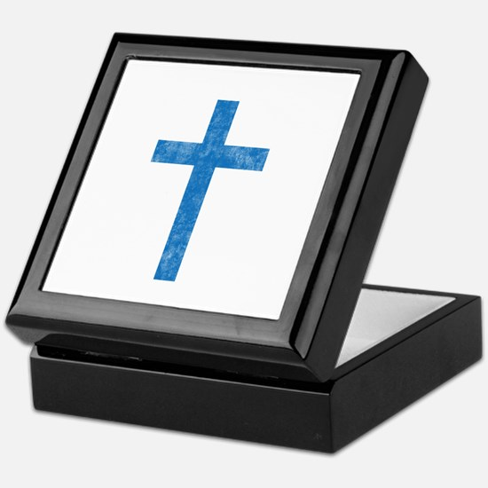 Pretty blue christian cross 1 U A Keepsake Box