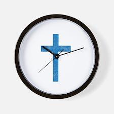 Pretty blue christian cross 1 U A Wall Clock
