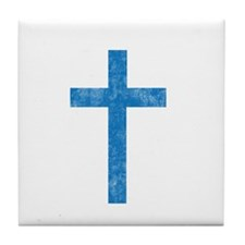 Pretty blue christian cross 1 U A Tile Coaster