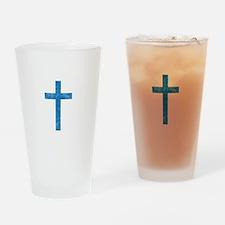 Pretty blue christian cross 1 U A Drinking Glass