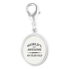 World's Most Awesome 40 Year Old Silver Oval Charm