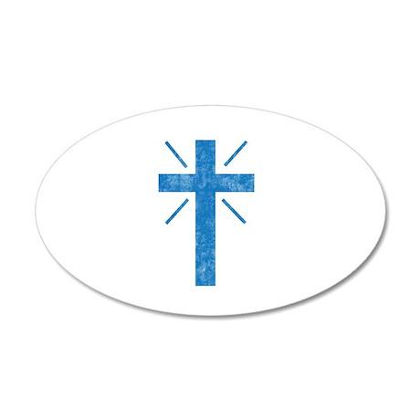 Pretty blue christian cross 1 U P Wall Decal