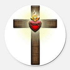 Sacred Heart of Jesus Cross Round Car Magnet