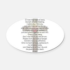 Sacred Heart of Jesus Cross Oval Car Magnet