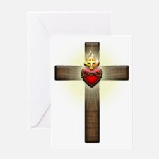 Sacred Heart of Jesus Cross Greeting Card