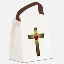 Sacred Heart of Jesus Cross Canvas Lunch Bag