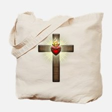 Sacred Heart of Jesus Cross Tote Bag