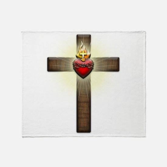Sacred Heart of Jesus Cross Throw Blanket