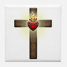 Sacred Heart of Jesus Cross Tile Coaster