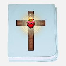Sacred Heart of Jesus Cross baby blanket