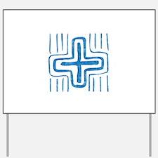 Pretty blue christian cross 2 U E Yard Sign