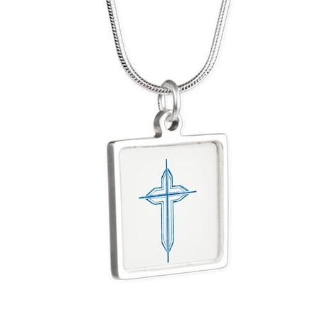 Pretty blue christian cross 2 U P Silver Square Ne